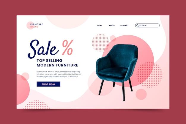 Modèle de page de destination de vente de meubles dégradé avec photo