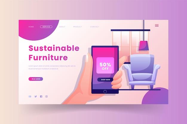 Modèle de page de destination de vente de meubles dégradés