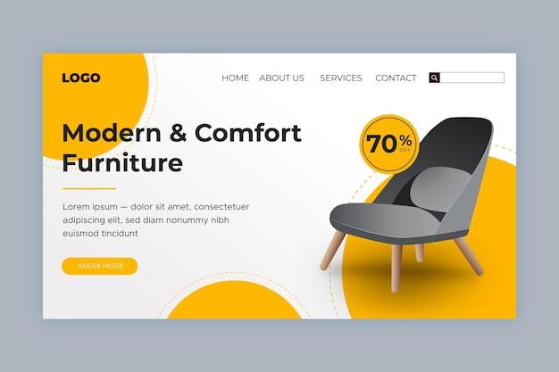 Modèle de page de destination de vente de meubles isométrique