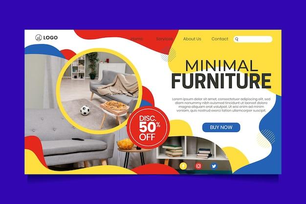 Modèle de page de destination de vente de meubles avec photo