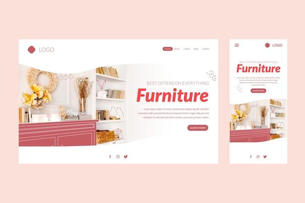 Modèle de page de destination de vente de meubles plats organiques avec photo