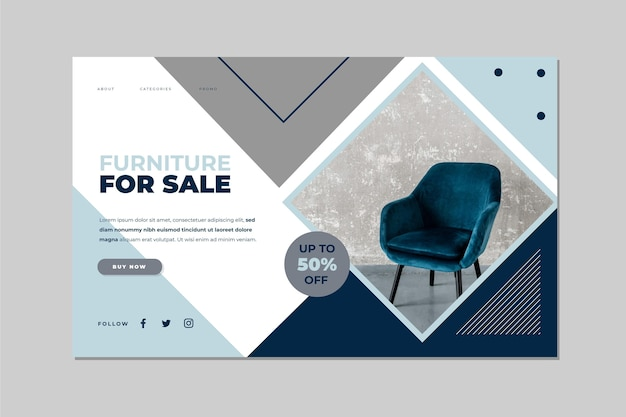 Modèle de page de destination de vente de meubles plats avec photo