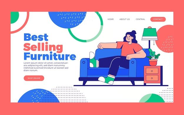 Modèle de page de destination de vente de meubles plats