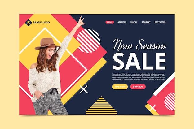 Modèle de page de destination avec vente de mode