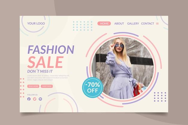 Modèle de page de destination de vente de mode