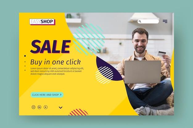 Modèle de page de destination de vente avec photo