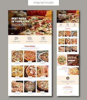 Modèle de page de destination de vente de pizza