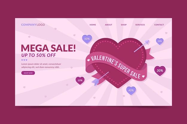 Modèle de page de destination de vente de la saint-valentin