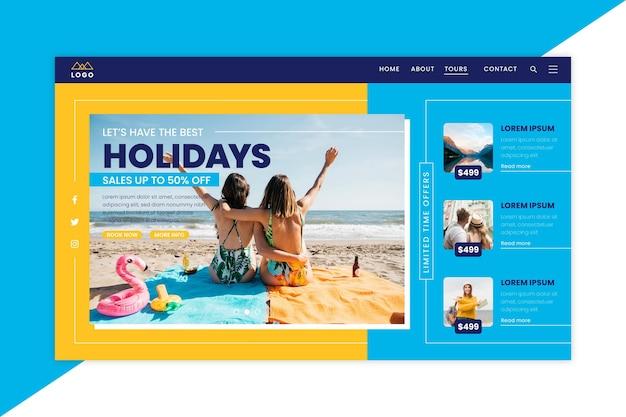 Modèle de page de destination de vente de voyage avec photo