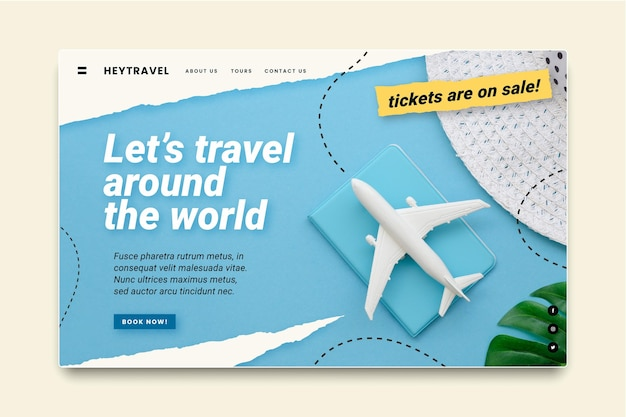 Modèle de page de destination de vente de voyage