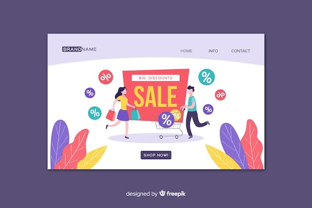 Modèle de page de destination de ventes à plat
