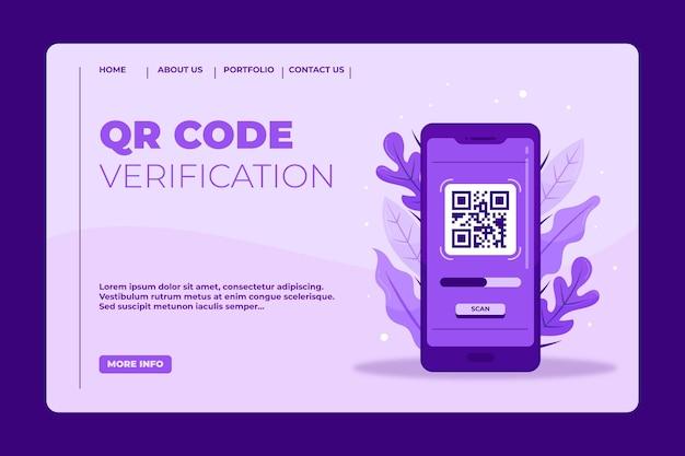 Modèle de page de destination de vérification du code qr