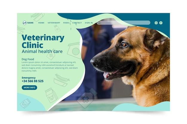 Modèle de page de destination vétérinaire
