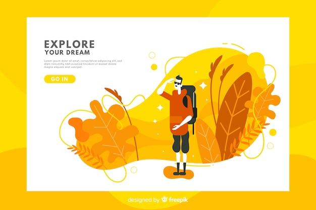 Modèle de page de destination de voyage abstrait