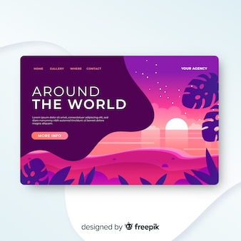 Modèle de page de destination de voyage, beau design