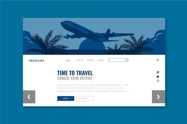 Modèle de page de destination de voyage sur la couleur bleue classique