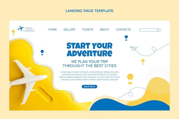 Modèle de page de destination de voyage design plat