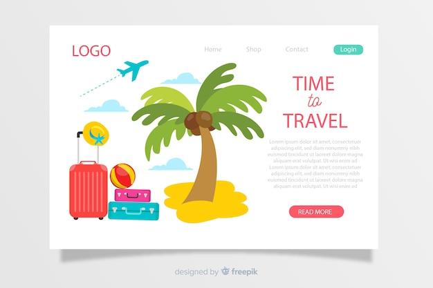 Modèle de page de destination de voyage dessiné à la main
