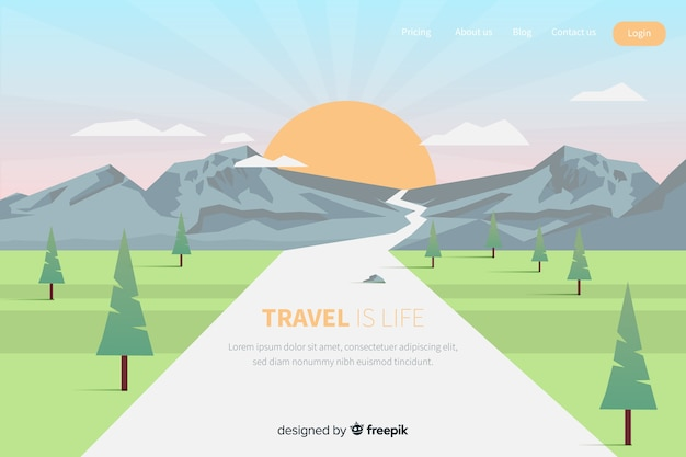 Modèle de page de destination de voyage à plat