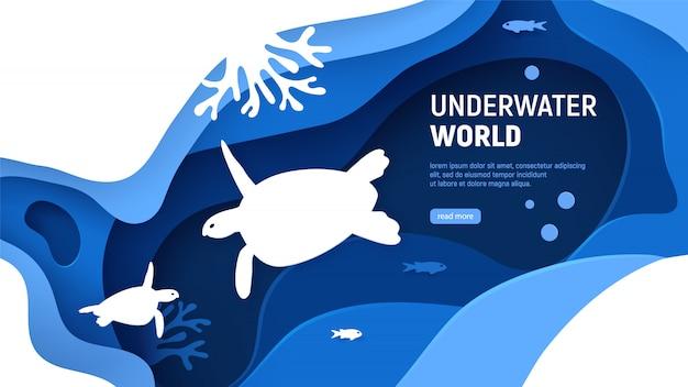 Modèle de page du monde sous-marin.