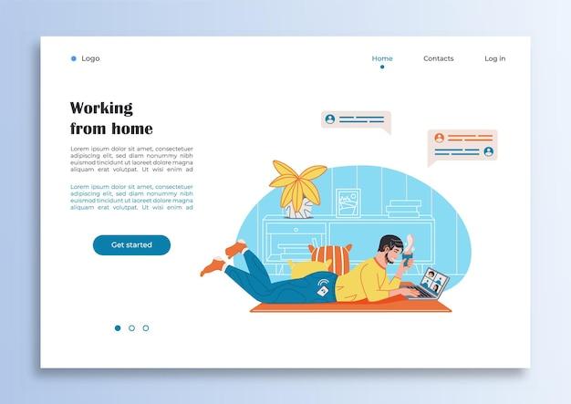 Modèle de page internet avec un homme travaillant à domicile