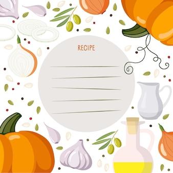 Modèle de page de livre de recettes recette d'écriture de modèle légumes épices produits de préparation des aliments