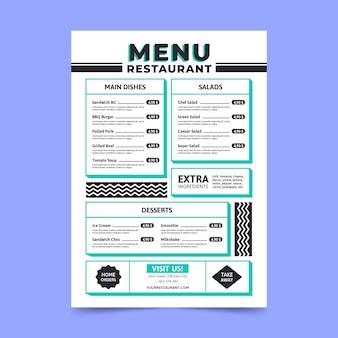 Modèle de page de menu minimaliste