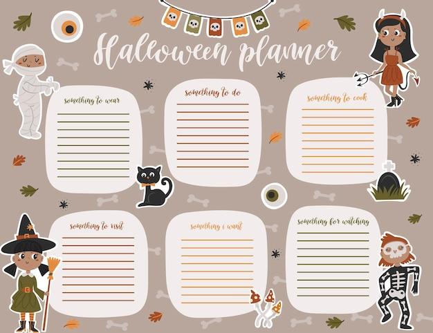 Modèle de page de planificateur hebdomadaire d'halloween. liste de choses à faire avec des enfants mignons en costumes de style dessin animé