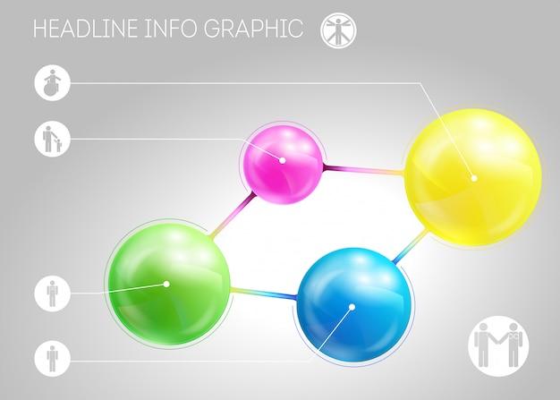 Modèle de page avec quatre metaballs à effets 3d