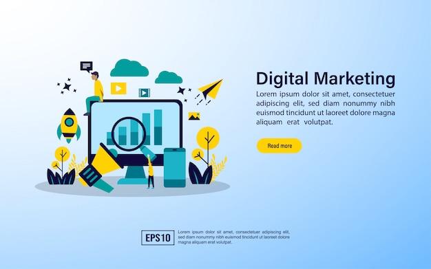 Modèle de page de renvoi. agence de marketing numérique, campagne multimédia numérique