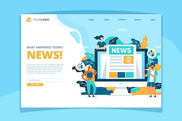 Modèle de page de renvoi de concept de nouvelles