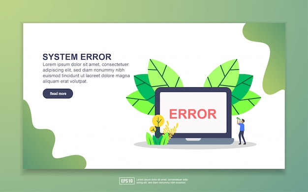Modèle de page de renvoi d'erreur système. concept de design plat moderne de conception de page web pour site web et site web mobile