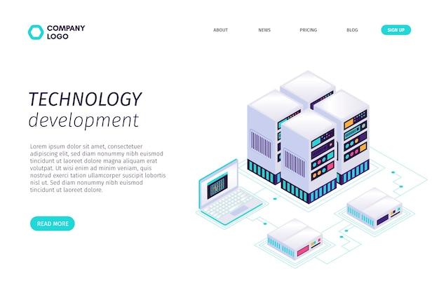 Modèle de page de renvoi isométrique de technologie