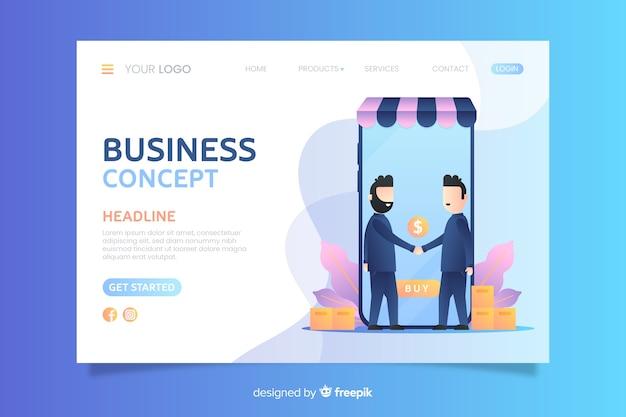 Modèle de page de renvoi pour les affaires à plat