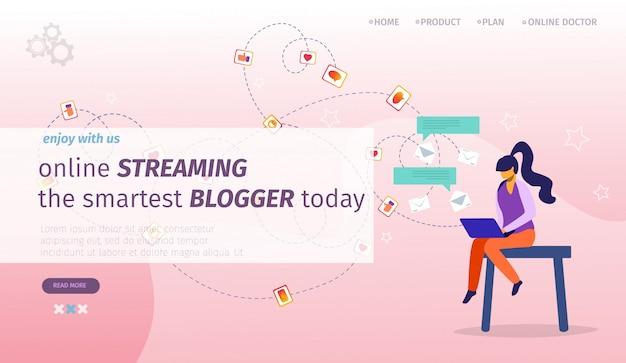 Modèle de page de renvoi pour la diffusion en ligne des blogs les plus intelligents aujourd'hui