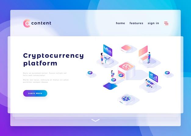 Modèle de page de renvoi pour le site web de la plateforme cryptocurrency