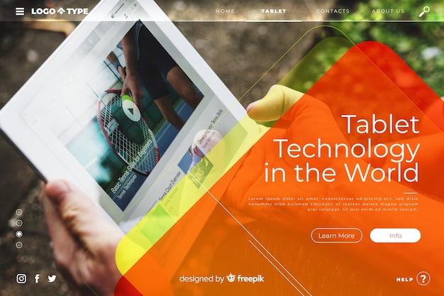 Modèle de page de renvoi de technologie avec photo