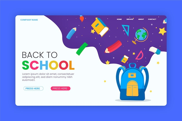 Modèle de page de retour à l'école