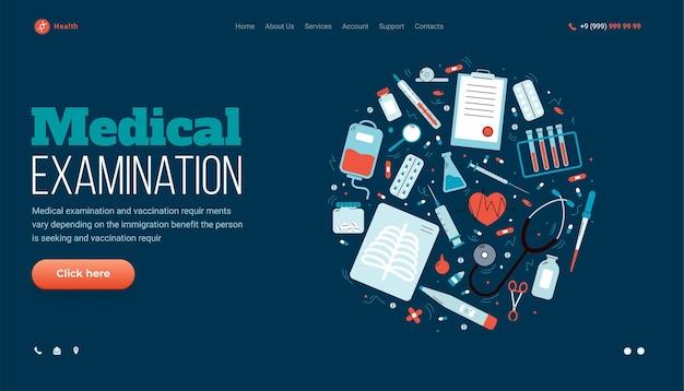 Modèle de page de site web d'examen médical fond d'illustration vectorielle de dessin animé