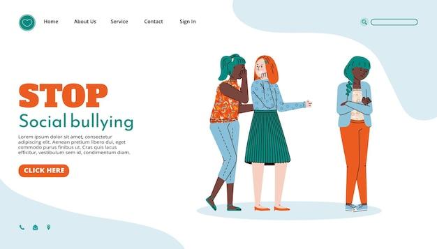 Modèle de page de site web pour arrêter l'illustration vectorielle de dessin animé d'intimidation sociale