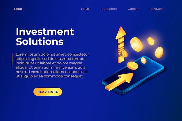Modèle de page de site web de solutions d'investissement avec des pièces, des flèches et un téléphone isométrique réaliste