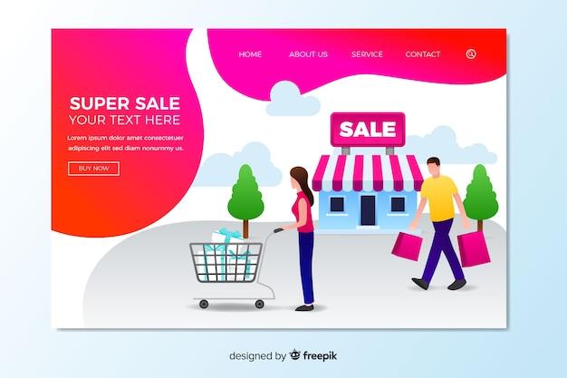 Modèle de page de vente de vente à plat