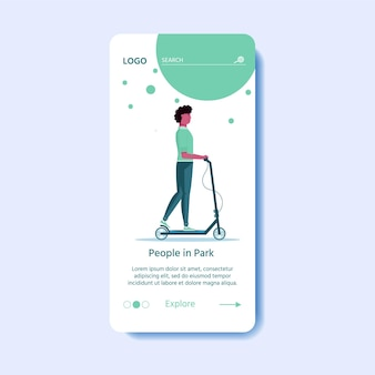 Modèle de page web, application, atterrissage. les jeunes hommes conduisent un scooter, un transport urbain écologique dans un parc public. transport électrique personnel, scooter électro vert. location de véhicule écologique