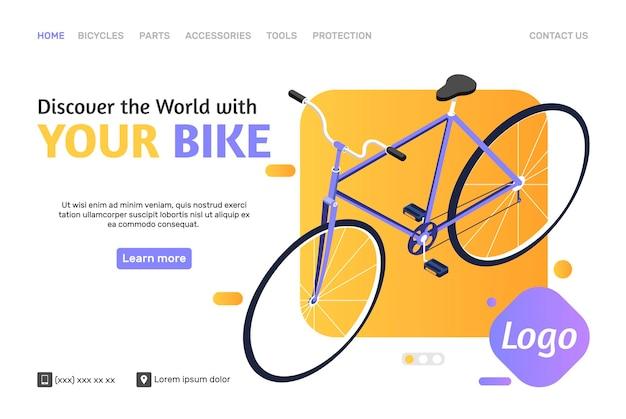 Modèle de page web de boutique en ligne avec vélo isométrique