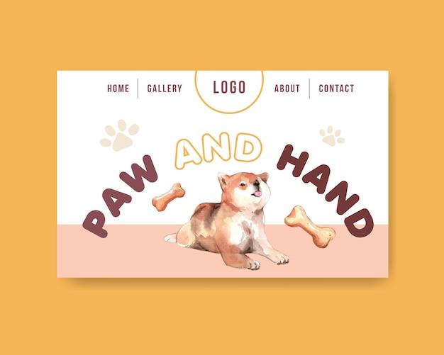 Modèle de page web de chien aquarelle