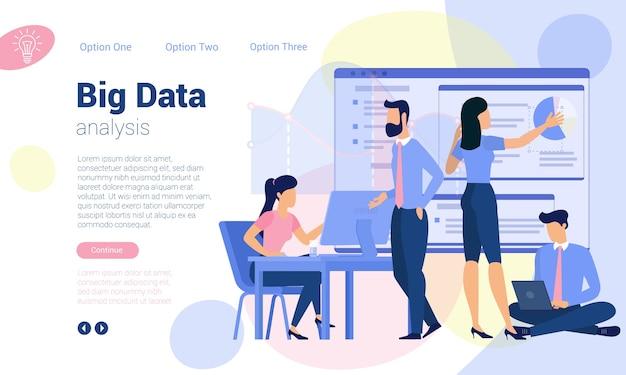 Modèle de page web de conception plate pour l'analyse big data, la stratégie commerciale et l'analyse. concept d'illustration tendance pour site web et application mobile.