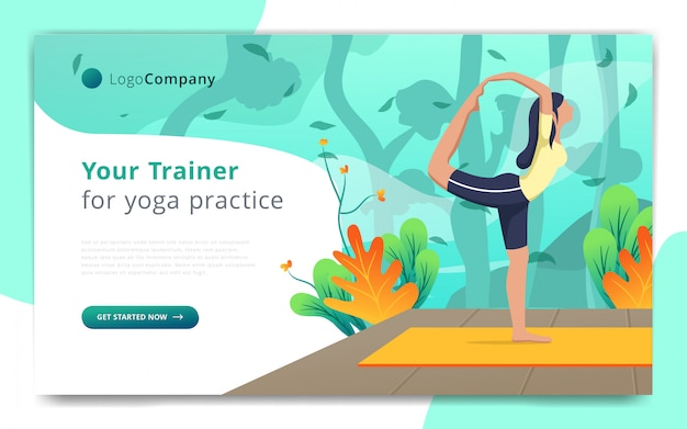 Modèle de page web de formateur de yoga faire de l'exercice dans le modèle de site web de nature ouverte