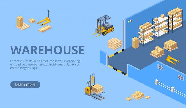 Modèle de page web isométrique de grand entrepôt