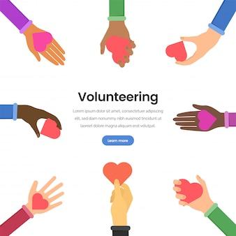 Modèle de page web plate pour le volontariat international