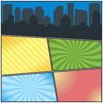 Modèle de pages de bandes dessinées avec différents arrière-plans radiaux et silhouette de la ville